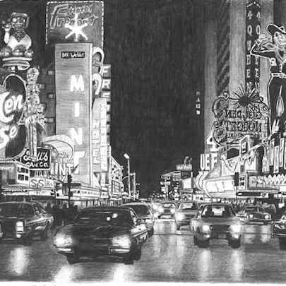 Las Vegas at night - Drawings - Originals, prints and limited editions