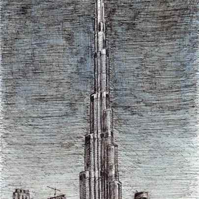 Drawing of Burj Khalifa (Dubai)