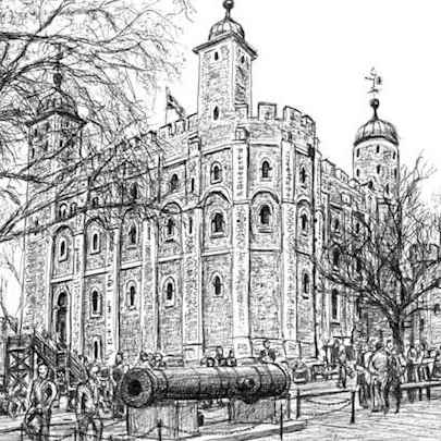 White Tower at Tower of London - Drawings - Originals, prints and limited editions