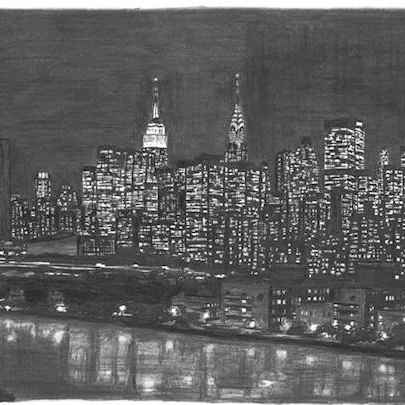 Manhattan Skyline at night - Drawings - Originals, prints and limited editions