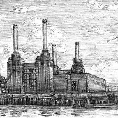 Drawing of Battersea Power Station, London