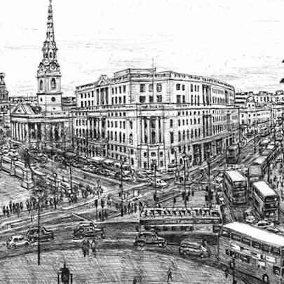 Drawing of Trafalgar Square, London