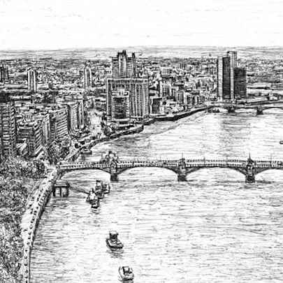 Aerial view of River Thames - Drawings - Originals, prints and limited editions