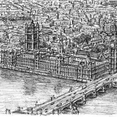 Aerial view of Houses of Parliament (London) - Drawings - Originals, prints and limited editions