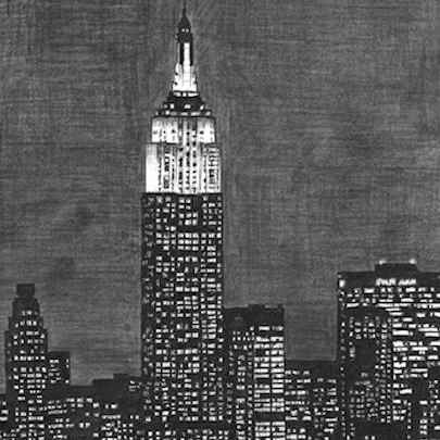 Drawing of Empire State Building at night, NY
