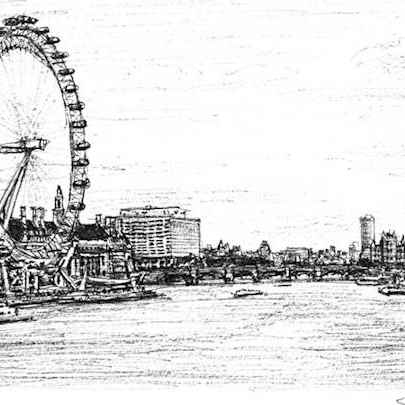 Birds Eye View of London Eye and Houses of Parliament - Original drawings