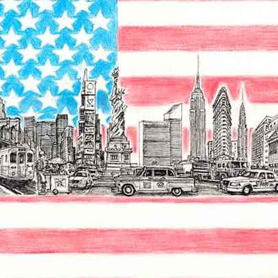 America montage - Drawings - Originals, prints and limited editions