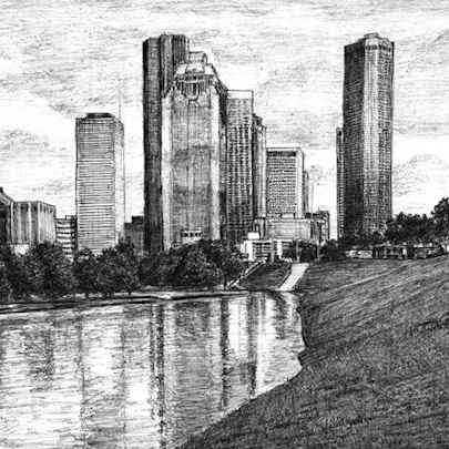 Drawing of Houston, Texas (USA)