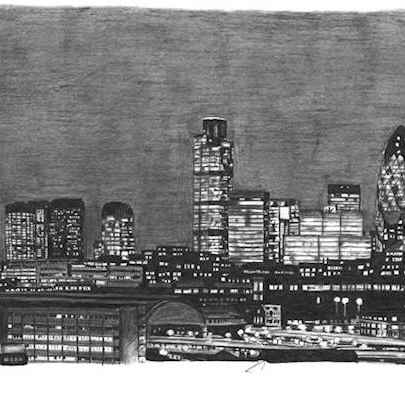 London City Skyline at night - Drawings - Originals, prints and limited editions