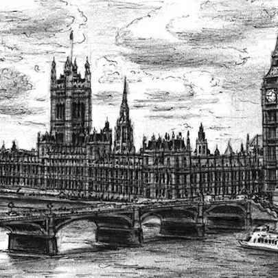 Drawing of Houses of Parliament (London)