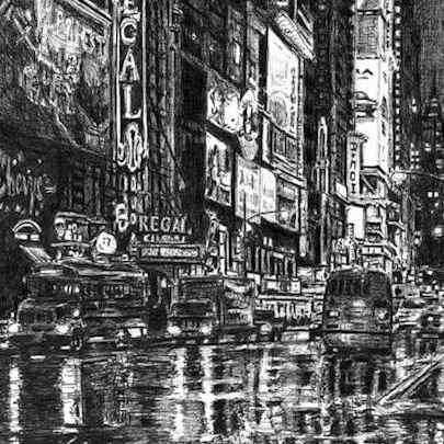Drawing of Times Square street scene