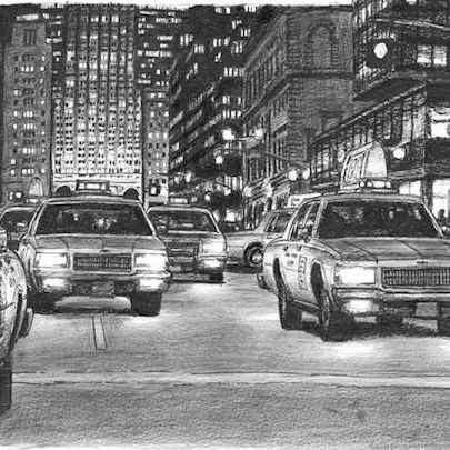 Drawing of Some yellow New York taxis at Park Avenue at night
