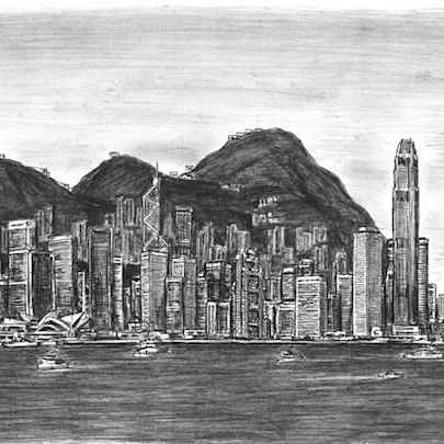 Hong Kong Skyline - Drawings - Originals, prints and limited editions