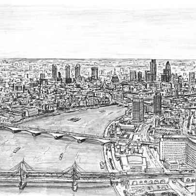 Birds eye view of London from London Eye - Drawings - Originals, prints and limited editions