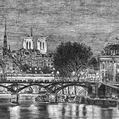 Paris at night - Drawings - Originals, prints and limited editions