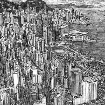 Aerial view of Hong Kong - Drawings - Originals, prints and limited editions