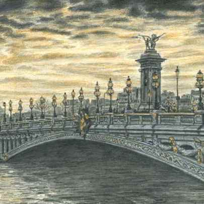 Pont Alexandre III, Paris - Drawings - Originals, prints and limited editions