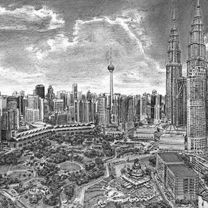 Kuala Lumpur skyline - Drawings - Originals, prints and limited editions