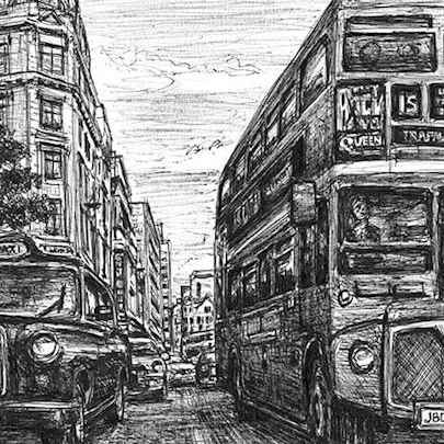 Drawing of London Taxi and Bus at Haymarket