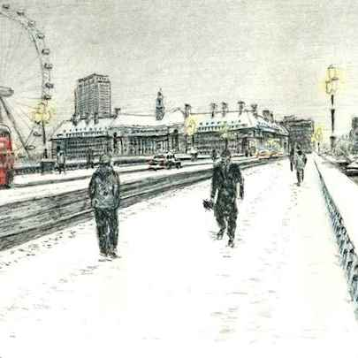 Snow Scene at Westminster Bridge  - Original drawings