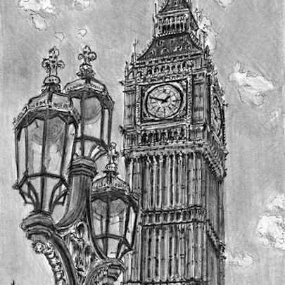 Big Ben - Drawings - Originals, prints and limited editions