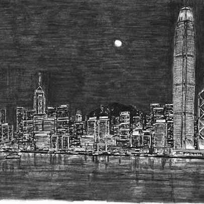 Hong Kong Skyline at night - Drawings - Originals, prints and limited editions