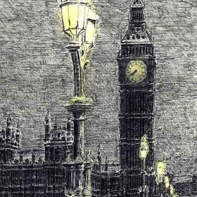 Drawing of Big Ben on a winter evening