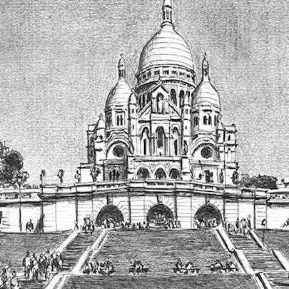 Sacre Coeur, Paris - Drawings - Original drawings and Architectural Art
