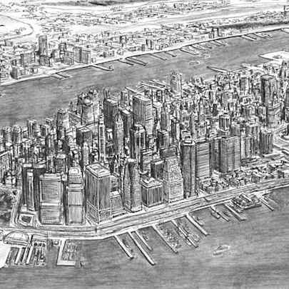 Aerial view of Financial District, NY - Drawings - Originals, prints and limited editions