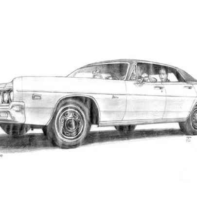 Drawing of 1969 Dodge Polara 4 door Hard Top Sedan