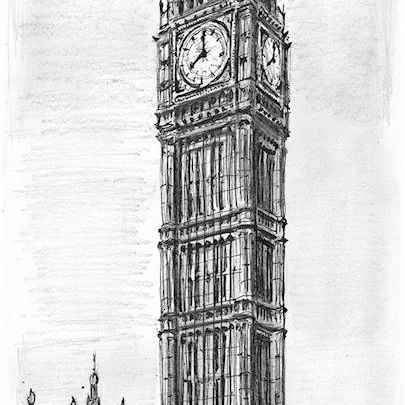 Elizabeth Tower, Big Ben, London - Original Drawings