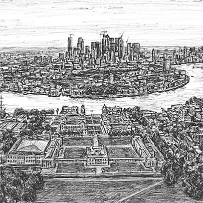 Canary Wharf from the Greenwich Observatory - Original Drawings