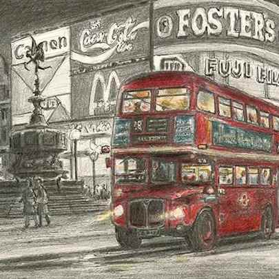 Drawing of London bus at Piccadilly Circus, London