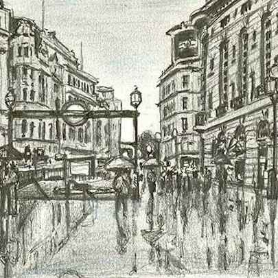 Drawing of Piccadilly Circus on a rainy day