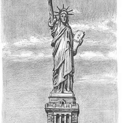 Drawing of Statue of Liberty, New York