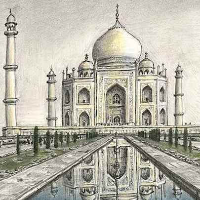 Drawing of Taj Mahal, India