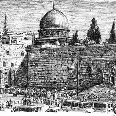 Wailing Wall Jerusalem - Original Drawings