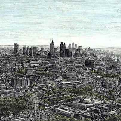 View of London from the top of BT Tower - Original drawings