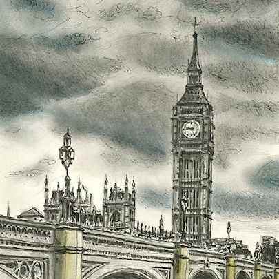 Drawing of Westminster Bridge and Big Ben