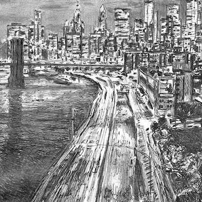 Drawing of New York City freeway at night