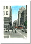 New York street scene with Fire Engines - Originals for sale