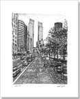 Street scene at Central Park with horse drawn carts - Originals for sale