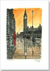 Big Ben on a rainy evening - Originals for sale