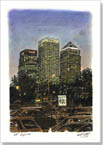 Canary Wharf at night - Originals for sale
