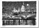 St Pauls Cathedral and River Thames at night - Originals for sale