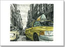 New York street scene with New York taxi cab - Originals for sale