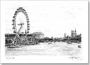 Birds Eye View of London Eye and Houses of Parliament - Originals for sale