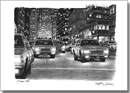 Some yellow New York taxis at Park Avenue at night - Originals for sale