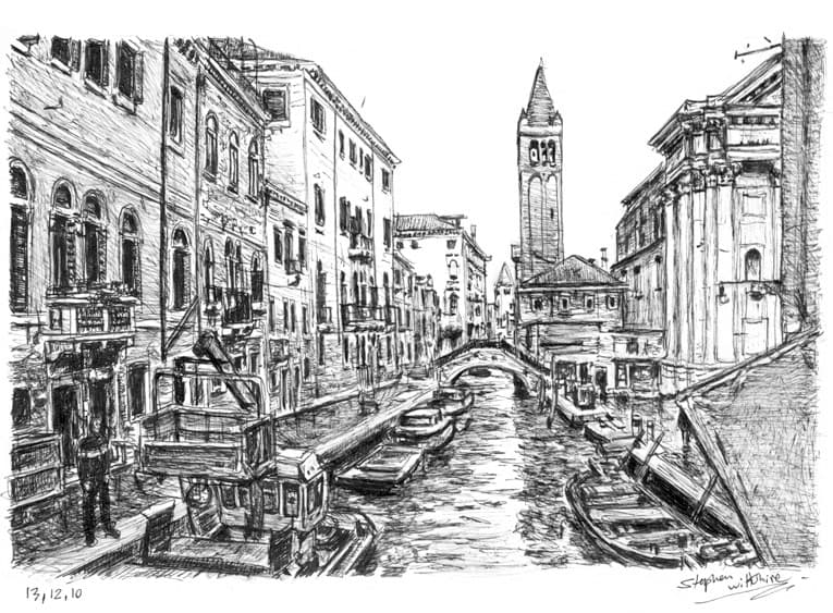 Line Drawing Venice : Venice italy original drawings prints and limited