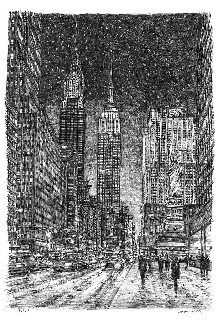 Imaginary drawing of New York in winter with White mount (A4) in Flat grain black frame for A4 mounts (J90)
